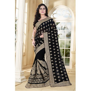 Sareeka Sarees Black Georgette Embroidered Saree With Blouse