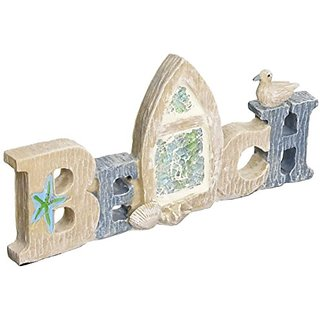 StealStreet SS-UG-HFB-183 Length Beach Table Sign with Crushed Glass, 9.5