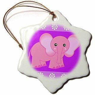 Janna Salak Designs Pink Baby Elephant Snowflake Porcelain Ornament, 3-Inch