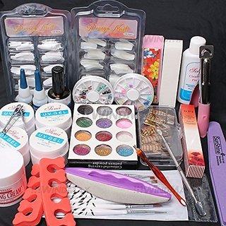 24in1 Nail Art UV Gel Nail Tips Top Coat Glue Decorations Full DIY Tools Set by RY