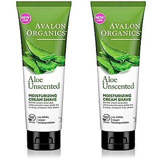 Avalon Organics Unscented Aloe Moisturizing Cream Shave With Aloe Vera, Beta-Glucan And Plant Extracts, 8 Oz (227 G) (Pa
