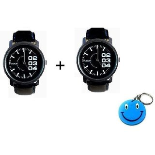 Buy 1 Fusion Watch And Get 1 Free Fusion Watch With Free Smiley Key Chain
