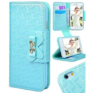 iPhone 6 Wallet Cases, Crosspace Embossed Bowknot PU Leather Charming Wallet Card Holder Protective Skin With Detachable