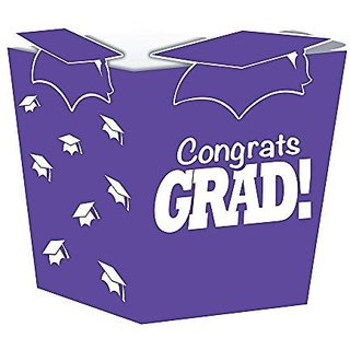 Creative Converting 4 Count Grad Shaped Treat Boxes, Purple