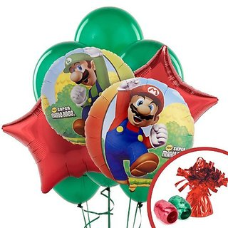 Super Mario Bros Party Supplies - Balloon Bouquet