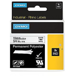 Dymo Rhinopro Industrial-Strength Permanent Adhesive Fabric Label Tape - 3/4-Inch - 18-Foot Cassette - White
