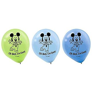 15-Piece Mickeys 1st Birthday Balloons, assorted colors.