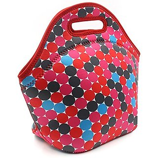 PAG Lunch Bag Neoprene Lunch Tote Portable Lunch Bag , Waterproof,Breathable,Pink Spot