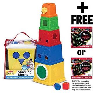 Ks Kids Stacking Blocks + FREE Melissa & Doug Scratch Art Mini-Pad Bundle [91701]