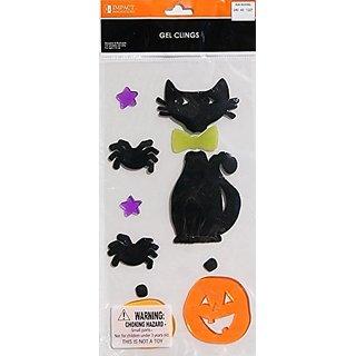 Halloween Black Cat Gel Window Clings ~ Black Cat, Pumpkins and Spiders (7 Clings, 1 Sheet)