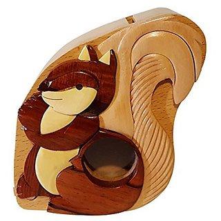 Handmade Squirrel Wooden Money Box Piggy Bank (4770)