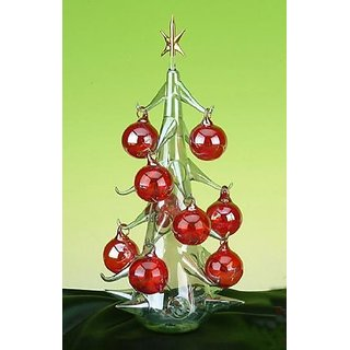 Stealstreet Ss-Ug-Bg-102L Crystal Glass Christmas Tree With Red Ornaments Decoration Display Figurine