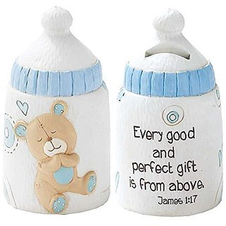 Dicksons Baby Bear Coin Bank for Boy, James 1:17 White