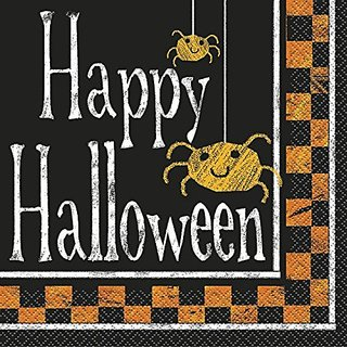 Checkered Halloween Party Napkins 16ct