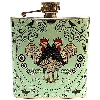 The Life Imagined Roosters Stainless Steel Flask - 6 Ounce