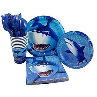 Shark Birthday Party Supply Pack! Bundle Includes Paper Plates, Napkins, Cups & Silverware for 8 Guests