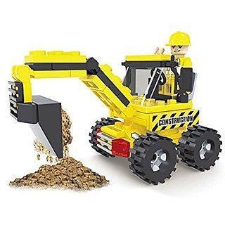 Ausini 84pc Construction Tough Tracks Excavator Tractor with Action Figure Building Bricks Educational Blocks Set Compat
