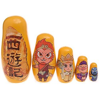 Moonmo 5pcs Beautiful Handmade Wooden Russia Nesting Dolls Gift Russian Nesting Wishing Dolls Journey to the West Matryo