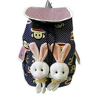 BACK to School Fashion Kids Backpack with Two Cute Bunnies (navy)