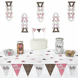 Hello Little One - Pink and Gold - Triangle Girl Baby Shower Party Decoration Kit - 72 Pieces