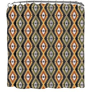 Indecor Home FSCRH-Aztec-OR Fabric Aztec Shower Curtain and Roller Hook Set