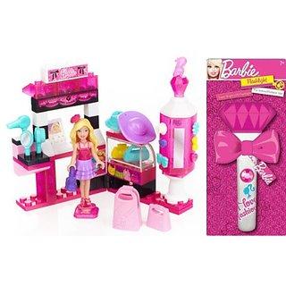 Barbie Combo Fun Pack: Mega Bloks Barbie Build N Style Fashion Kiosk Plus Super Bright Barbie LED Flashlight
