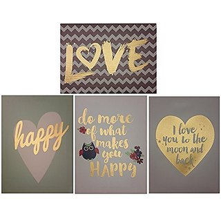Decor Hut Set of 4 streched canvas, love, happy, cute quotes! soft colors to match any room!