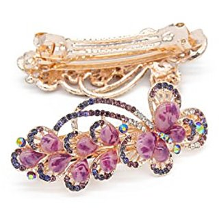 Yeshan Lady lovely Jewelry Rhinestone Crystal beaded Butterfly Design Alloy Hair Barrettes Clips,Purple