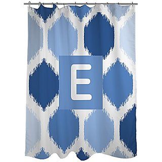 Thumbprintz Shower Curtain, Monogrammed Letter E, Blue Batik