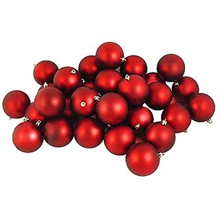 32ct Matte Red Hot Shatterproof Christmas Ball Ornaments 3.25 (80mm)