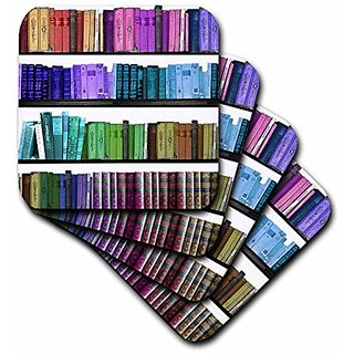 3Drose Colorful Bookshelf Books Rainbow Bookshelves Reading Book Geek Library Nerd Librarian Author Soft Coasters