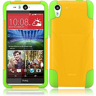 MEGATRONIC Yellow and Neon Green Dual Layer Silicone W/ Slant Stand i Cover Case Skin for HTC Desire Eye 5.2 5.2