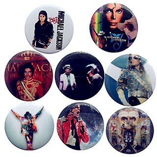 Michael Jackson 1 1/4 Badge Button Pin Pinback Button Set, 8-pcs