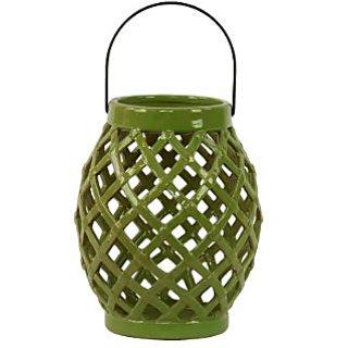 Urban Trends 40404 Decorative Ceramic Lantern, Green
