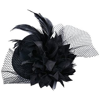 Fascinator Mini Top Hat Hair Clip Flower Feather Pillbox Hat for Women Black