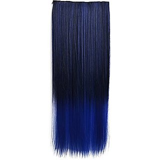 Colorlife 22 Inch/ 55cm Black to Dark Blue Ombre Color Straight Synthetic Hair Extension with 5 Clips