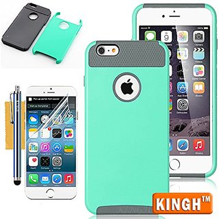 KINGH Ultra Back Shell Bumper Case with Screen Protector, Cleaning Cloth and Touch Stylus for iPhone 6 Plus - Green/Gray
