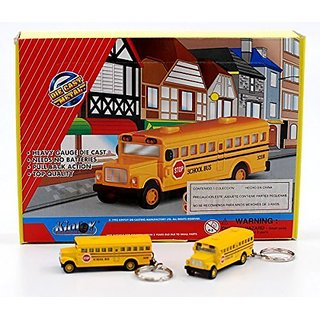 Box of 12: Die-cast Mini School bus with Keychain