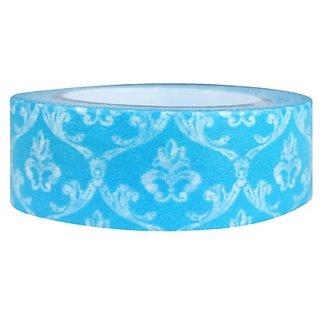 Wrapables Damask Japanese Washi Masking Tape, Blue Crest