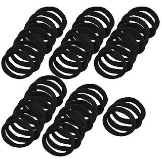 48PCS Black Elastic Rubber Hair Bands Ponytail Holders for Ladies