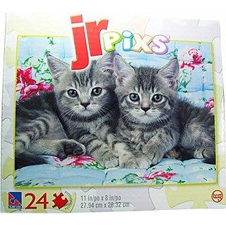 Jr. Pixs - Grey Kittens on a Quilt - 24 Piece Puzzle