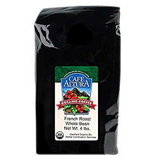 Cafe Altura Whole Bean Organic Coffee, French Roast, 4 Pound
