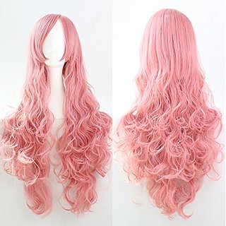 Womens/Ladies 80cm Pink Color Long CURLY Cosplay/Costume/Anime/Party/Bangs Full Sexy Wig (80cm,Curly Pink)