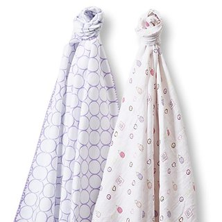 SwaddleDesigns SwaddleDuo, Mod Peace Love Duo (Set of 2 in Lavender)