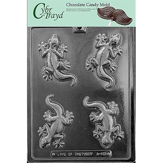 Cybrtrayd A133 Lizard Chocolate Candy Mold with Exclusive Cybrtrayd Copyrighted Chocolate Molding Instructions
