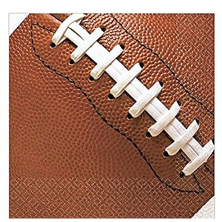 Amscan Football Fan Birthday Party Luncheon Napkin (16 Piece), Brown, 6.5 X 6.5