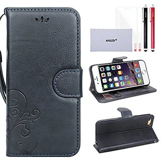 iPhone 6s Wallet Case,iPhone 6s Wallet Flip Leather Case,ANLED Premium Vintage Embossed Flower Wallet Leather Case with