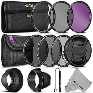 52MM Vivitar UV CPL FLD Filters, Altura Photo ND Filter Set, Collapsible Rubber Lens Hood, Tulip Lens Hood Bundle for Le