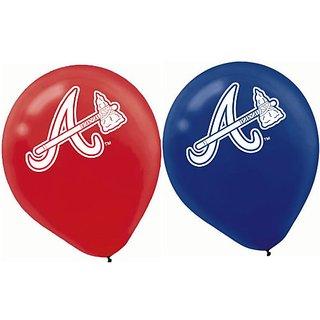 Amscan Atlanta Braves Major League Baseball Printed Latex Party Balloons, 12