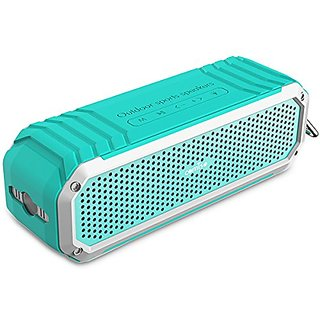 COMISO Portable Bluetooth 4.0 Wireless Speaker with Dual 5W Drivers Bass, Flashlight and Microphone - (Turquoise/ Silver